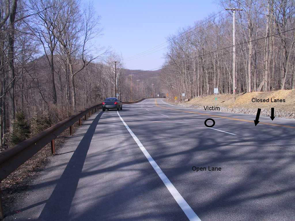Figure 1. Incident site including lane closures and victim's position