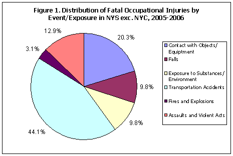 pie chart showing causes of occupational fatalities