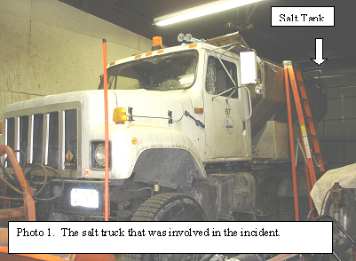 picture of the salt truck that was involved in the incident