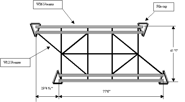 illustration of overhead depiction of the third span of the temporary under-bridge