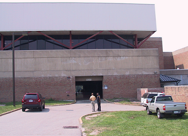Field House entrance where the aerial work platform was parked during the incident