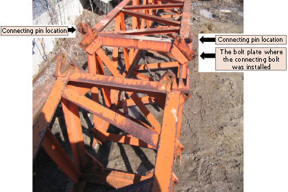connecting ends of the two adjacent boom sections
