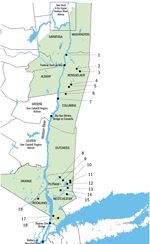 map of Hudson Valley New York waterways