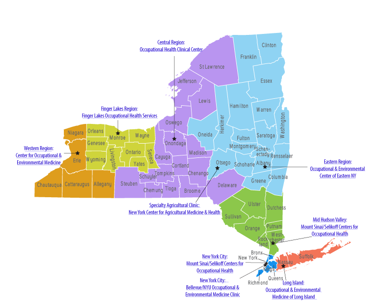Map of New York State outlining the individual regions
