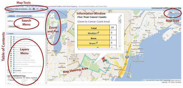 Environmental Facilities and Cancer Mapping Application Controls and Features